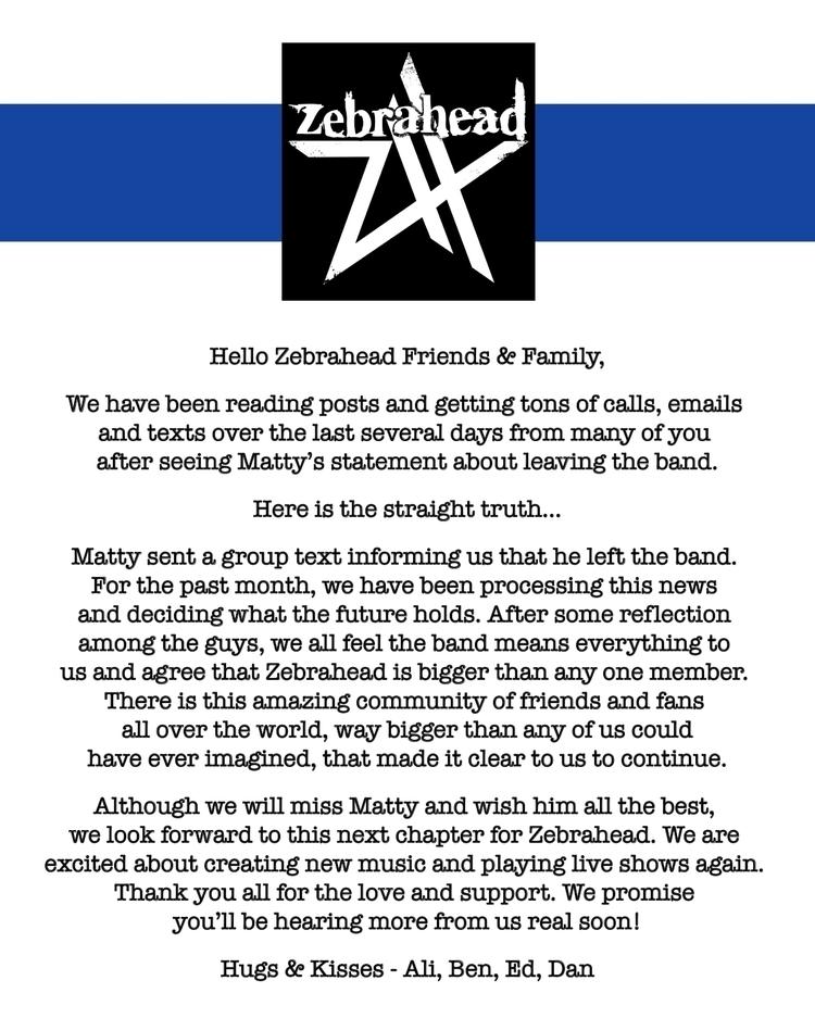 ゼブラへッドからフロントマンのマッティ・ルイスが脱退。バンドは活動継続を決定、2022年には延期となっている日本ツアーも予定